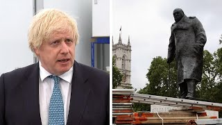 Boris Johnson says it's 'absurd and wrong' that Winston Churchill statue is at risk of attack