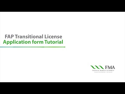 FAP Transitional Licence Application Form Tutorial