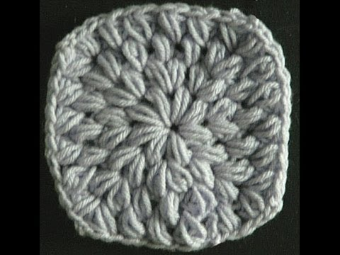 Crochet Stitches Granny Square Youtube : Easy Crochet Puff Stitch Granny Square - YouTube