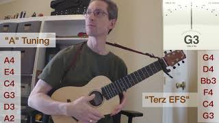 Cordoba Mini M Sound Sample: A tuning vs Terz EFS tuning, a guilele tuning with all unwound strings