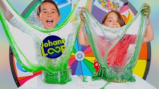 MYSTERY WHEEL of Slime Challenge, Schleim Glücksrad, SISTER vs BROTHER! Johann Loop