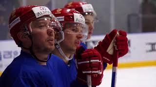 Тренировка хоккейной сборной России в Корее