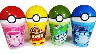 로보카폴리 컵안에 다양한 장난감 알까기 놀이와 재미있는 영어 색깔놀이 동영상