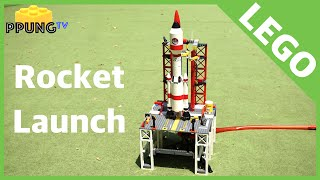 LEGO rocket launch - Compressed Air Rockets (lego city 3368 space center) by 뿡대디