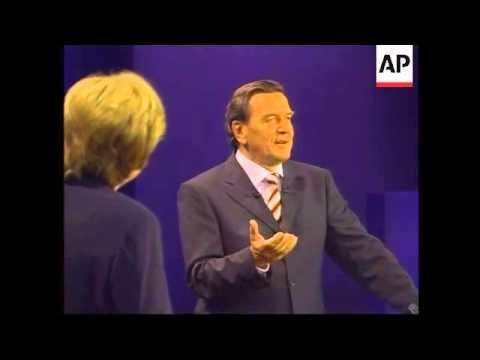 Chancellor Schroeder and Angela Merkel in TV debate