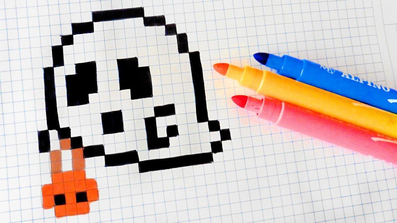 Halloween Pixel Art - How To Draw Halloween Ghost #pixelart - YouTube