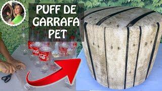 PUFF DECORATIVO FEITO COM GARRAFAS PET E PAPELÃO