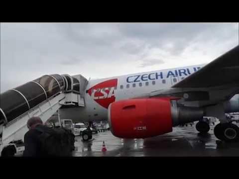 Flight Frankfurt - Prague on CSA Czech Airlines A319 (bus ride, taxi, takeoff, approach, landing)