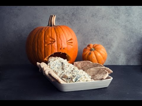 Nina Jackson - Halloween Recipe: Spinach and Artichoke Dip  Pumpkin