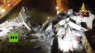 Dron capta la devastación tras el derrumbe del puente en Génova