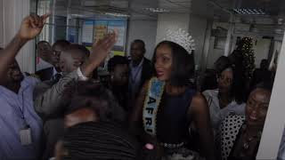 Uganda's Newly crowned Miss World Africa Quiin Abenakyo returns home