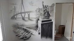 "Black & white airbrush wall painting ""Vaasa"""