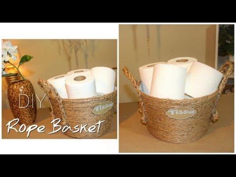 DIY Dollar Tree Rope Basket | Bathroom Organization | Tissue Holder ||  Chanelle Novosey