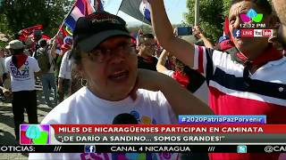 Miles de nicaragüenses participan en caminata ¡De Darío a Sandino… Somos Grandes!
