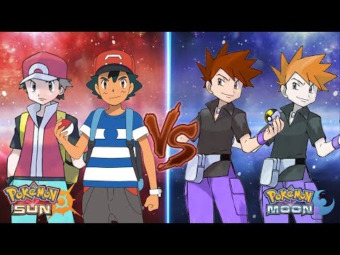 Pokemon Sun and Moon: Ash and Red Vs Gary and Blue Ash Best Team