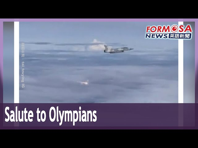 Four Mirage jets escort Olympians home