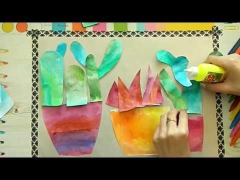 Кактусы в горшке в технике коллаж. Видео урок для детей от 6 лет.