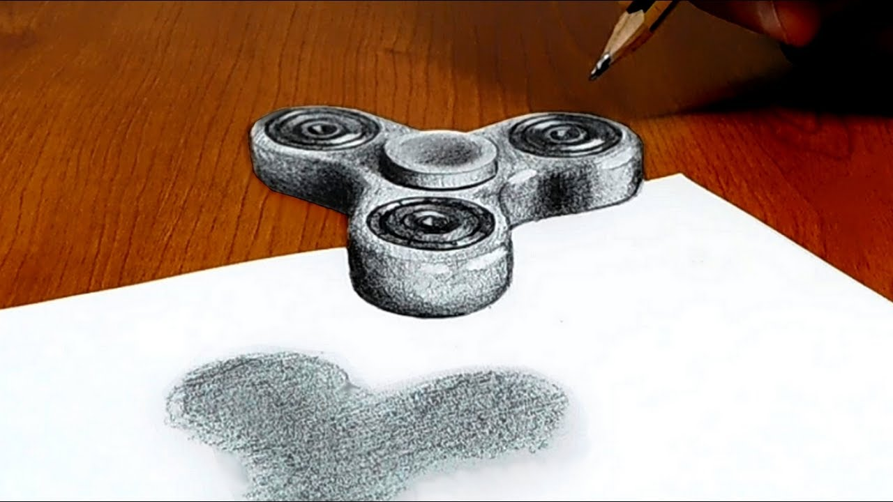 3D Trick Art on Paper, Floating Fidget spinner, Try to do