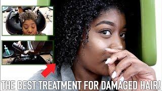 SALON VISIT   I'M SHOOK! OLAPLEX TREATMENT SAVED MY NATURAL HAIR!