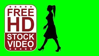 FREE HD video backgrounds – woman on high heels and ponytail silhouette walking on green screen