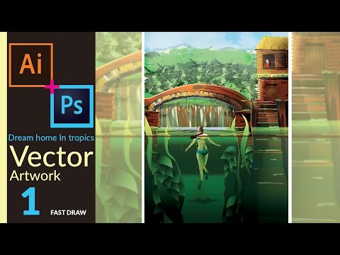 Nature Artwork in adobe illustrator - Dream Home in Tropics | Fast Draw | PART 01