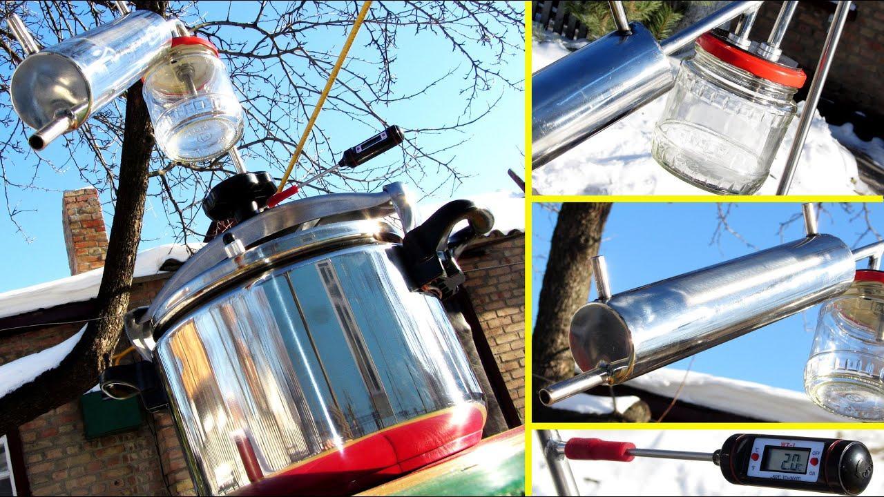 Отличительная особенность дистиллятора дачный состоит в том, что для него не требуется подвод проточной воды. Помимо перегонного бака, в нем есть бак для охлаждения. Чтобы начать использование аппарата, достаточно только наполнить бак водой, в перегонный куб залить брагу и поставить.