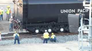 UP 844 Tender Splitting the Derail at Sacramento.mp4