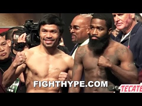 PACQUIAO VS. BRONER INTENSE WEIGH-IN; PACQUIAO FLEXES ON BRONER, WHO STARES HIM DOWN