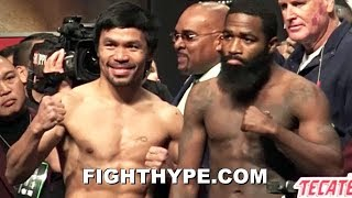 PACQUIAO VS. BRONER INTENSE WEIGH-IN; PACQUIAO FLEXES ON BRONER, WHO STARES HIM DOWN thumbnail