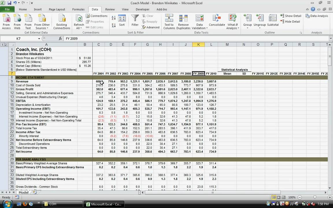 how to make operations model on excel