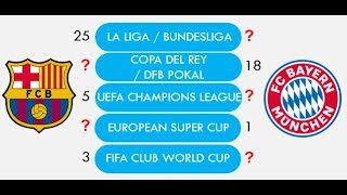 Fc barcelona vs bayern munchen total match played, win, draw, goal scored, champions league win etc. compared or whic...