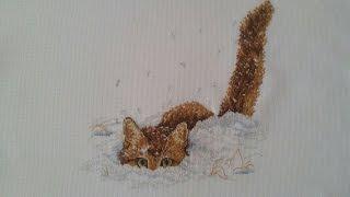 Вышивка крестиком. Кот в снегу от МП Студии.