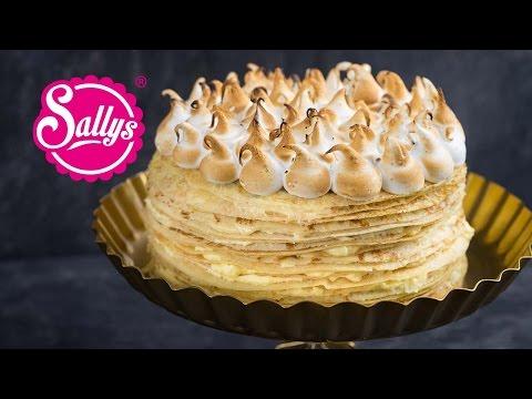 Crêpes-Torte mit Lemoncurd Füllung und Baiserhaube - Crêpes Tarte au citron