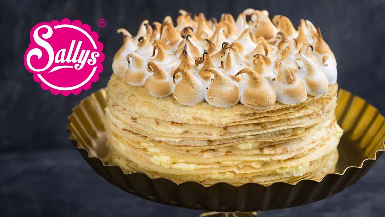 Crepes Torte Mit Lemoncurd Fullung Und Baiserhaube Crepes Tarte Au