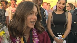 LAPD Officers Surprise Fallen Partner's Youngest Daughter At High School Graduation