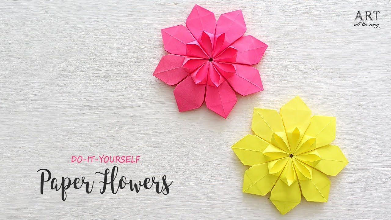 Easy Paper Flowers Flower Making Diy Youtube