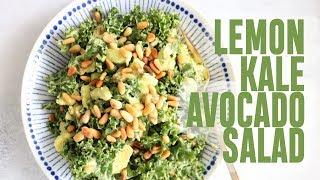 LEMON KALE AVOCADO SALAD (six ingredients + vegan)