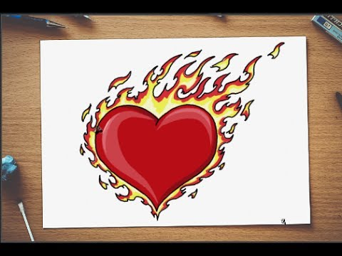 How to draw love hearts fire step by step - YouTube