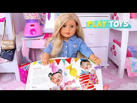 American Girl Slumber Party! Learn How to Set Baby Doll Sleepover Party w/ Candy Cupcake Toys!