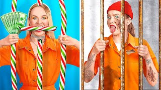 ZENGİN MAHKUM FAKİR MAHKUM || Ev Hapsinde Komik Durumlar! 123 GO! Gizlice Makyaj Malzemesi Sokma