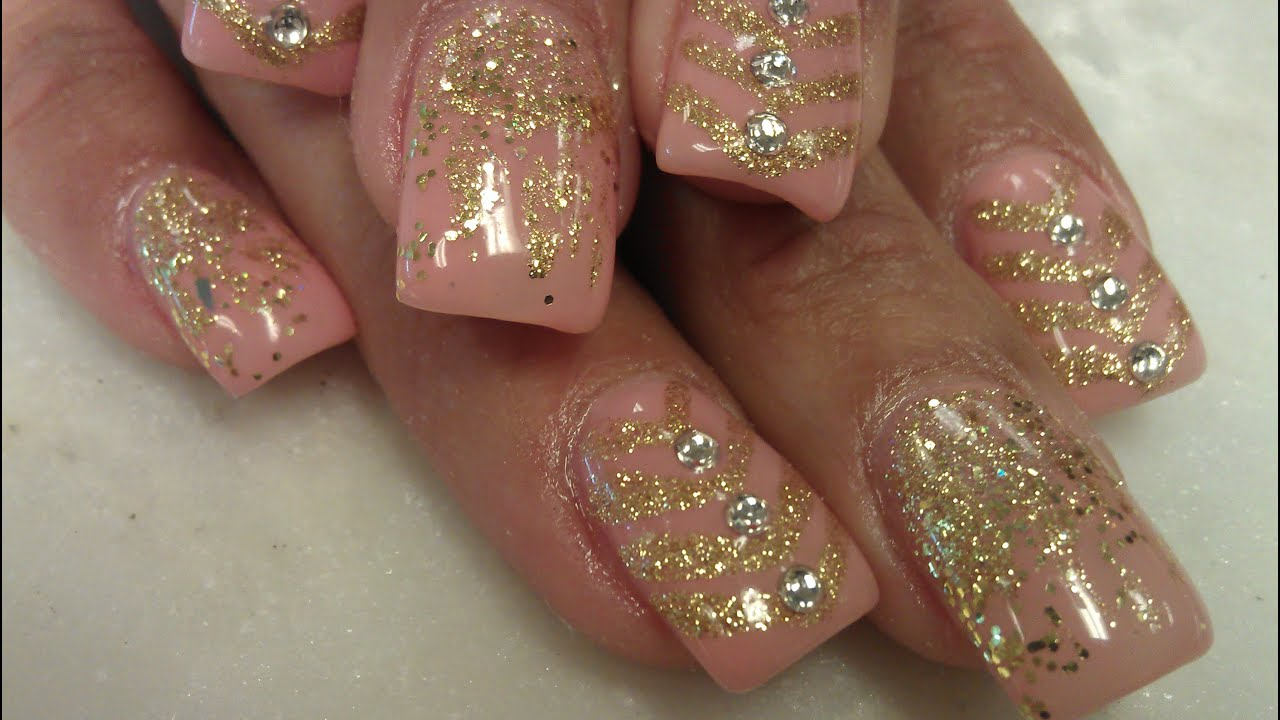 How To Gel Color Gold Glitter Nail Designs Part 2 Youtube