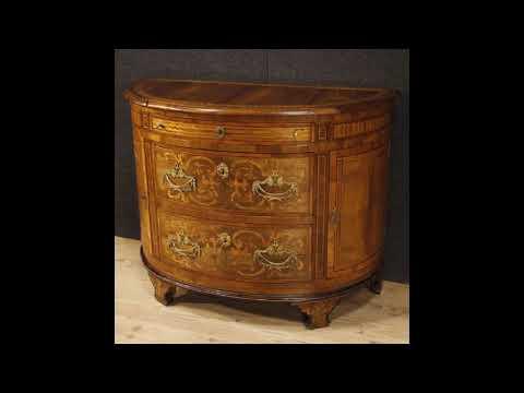 Comò italiano a mezzaluna in legno intarsiato in stile Luigi XVI ...