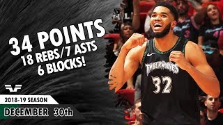 Karl-anthony Towns - 2018.12.30 - Timberwolves Vs Heat - 34 Pts, 18 Rebs, 7 Asts