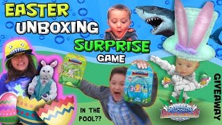 EASTER SKYLANDERS POOL SURPRISE GAME! The Bunny Is Back w/ SuperChargers in the Pool?!?!