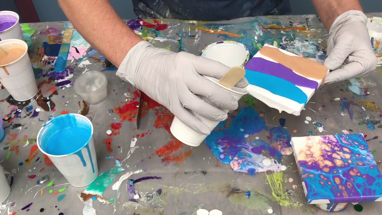 Acrylic Pour Painting Great Small Holiday Gift Ideas Using Arteza Mini Canvas Youtube