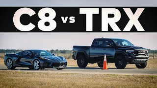 RAM TRX Hellcat vs C8 Corvette // Drag Race!