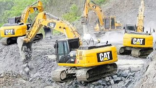CAT 336D LME 320D2 Excavator Breaking Dropping Loading Rocks Into Dump Truck