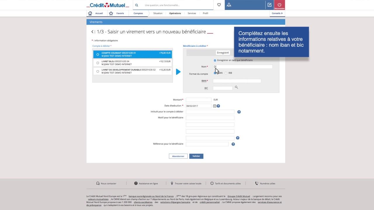 Banque Au Quotidien Ajouter Un Beneficiaire De Virement Youtube
