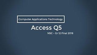 NSC CAT Nov 2018 - Q5 Access