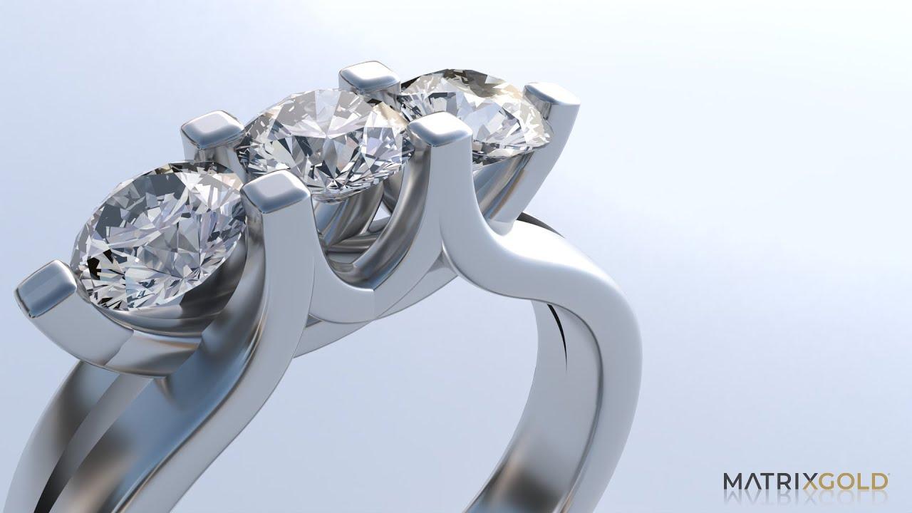 Three Stone Solitaire with Split Profile - MatrixGold Tutorial